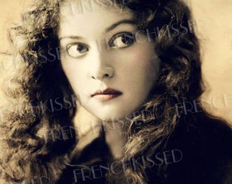 Eyes Wide Open Golden Girl Long Haired Beauty Rare Real Photo Antique Postcard Digital