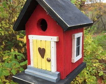Primitive Red and Black Cozy Country Birdhouse Wrens Chickadees Finches yellow door