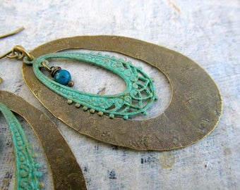 Big hoop earrings - turquoise earrings - patina statement earrings - Bohemian Jewelry