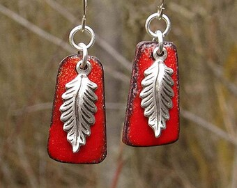 Delicate Earrings Coworker Gift Silver Feather Earrings Red Enamel Earrings boho jewelry - enamel jewelry