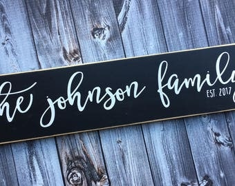 Family Name Sign   Customized with last name   Script Font   Wedding Date   Wedding Sign   Anniversary Gift   Style FA50