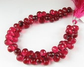 ON SALE Ruby Red Quartz Faceted Teardrop Briolettes 10mm - 11mm (6 beads)