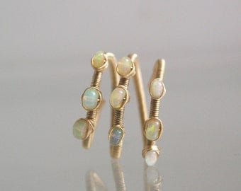 Wire Wrapped 14k Gold Filled Opal Ring, Wraparound Design