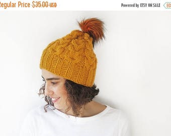 20% WINTER SALE Mustard Hand Knitted Hat with PomPom