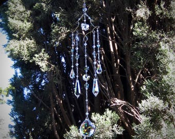 Butterfly Crystal Prism Chandelier Suncatcher   Handmade Mobile Housewarming Gift   Feng Shui Rainbow Maker