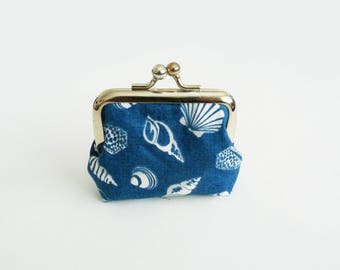 Coin purse, shell fabric, blue and white cotton shell design, cotton pouch