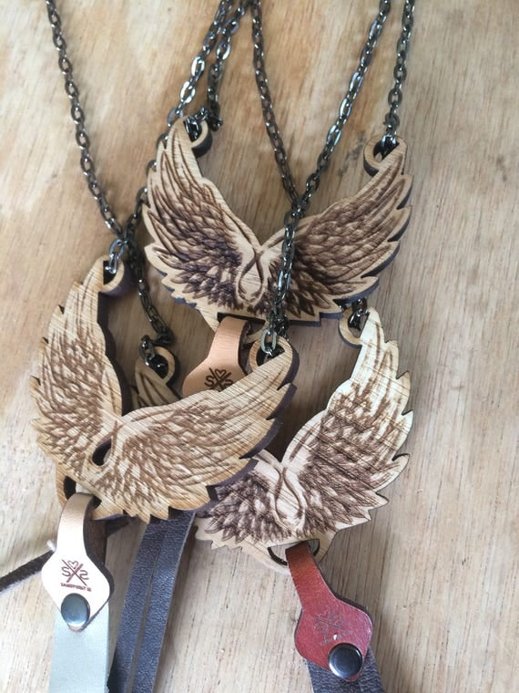 Angel Wings Necklace | women | Gift for her | Wood Pendant