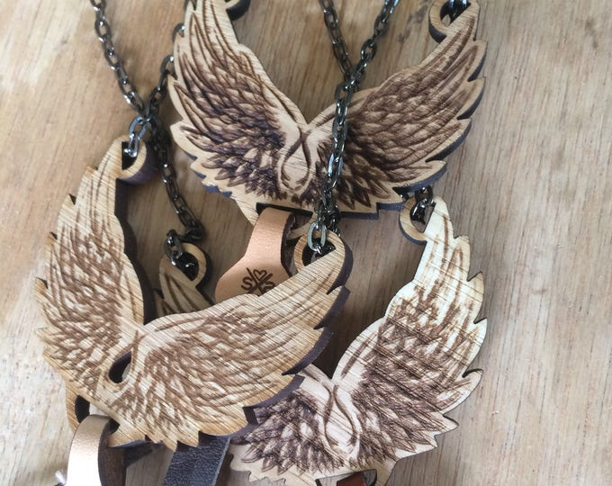 Featured listing image: Angel Wings Necklace | women | Gift for her | Wood Pendant
