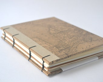 Canadiana Map Journal, Kraft Brown Coptic Notebook with Light Brown Edging, Great Lakes Ontario
