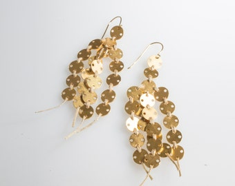 Threader Gold Dangle Earrings, Long Gold Earrings, Contemporary Jewelry, Original Jewelry, Modern Boho Earrings