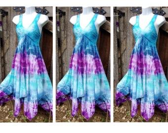 Custom Bridesmaid Tie Dye Dresses, Tie dye Prom Dress, women's Fairy Dress, Tie dye Bridesmaid dresses, turquoise, purple and blue