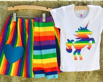 Rainbow Stripe Girls Unicorn Shirt, Skirt and Leg Warmer Set - Sizes For Baby, Toddler and Big Kids - Great Birthday Gift or Party Outfit
