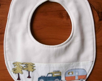 CAMP SUR Baby Bib; River Camping Newborn Baby Bib; Organic Cotton Teething Bib; Modern Drool Bib for Boy, Girl; Handmade Baby Shower Gift