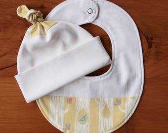 Yellow Teething Bib and Baby Hat Set; Handmade Baby Gift; Organic Cotton, Woodland Newborn Baby Cap and Drool Bib Gift; Tree Stripes Yellow