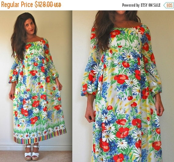 SALE SECTION / 50% off Vintage 70s May Queen Cotton Voile Empire Waist Floral Maxi Dress (size xxs, xs)