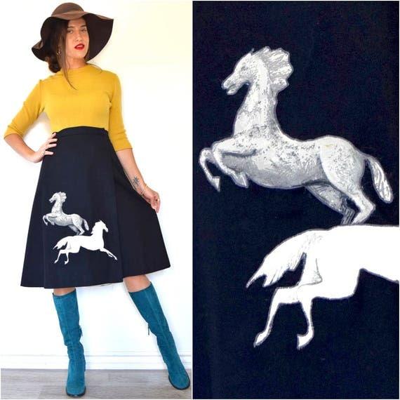 SPRING SALE/ 20% off Vintage 70s 80s Wild Horses 3D Applique Wrap Around Black Wool A Line Skirt (size large, xl)