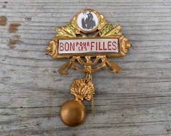 Vintage Antique French military conscrit medal  pin brooch /Bon pour les filles