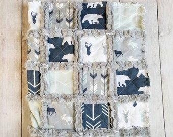 Woodland Quilt - Woodland Nursery - Moose Bear and Deer Quilt - Navy Blue Mint Green and Gray Quilt - Woodland Blanket - Woodland Baby Gift
