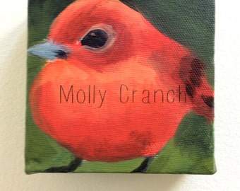 Spark- Miniature Painting of Scarlet Tanager