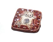 Basket Base 1 Square to Round Cute Owl Ceramic Start for Pine Needle Basket Beading Craft Supply Coiling Whimsical Brown White Basketry