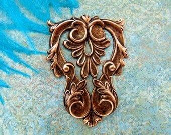 ANTIQUE COPPER * Crest Art Nouveau Leaf Stamping ~ Jewelry Findings (FA-6071)