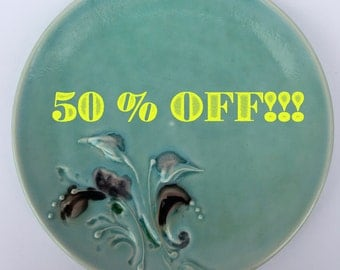 Teal Dinner Plate with glass