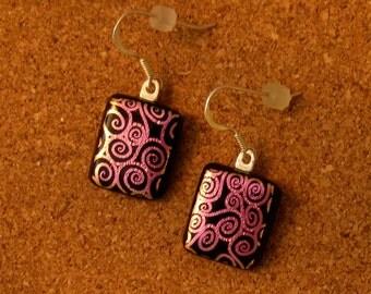 Dichroic Glass Earrings - Fused Glass Earrings - Dichroic Jewelry - Fused Glass Jewelry - Pink Dichroic Earrings - Glass Earrings