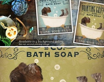 Wirehaired Pointing Griffon dog bath soap Company vintage style artwork by Stephen Fowler Giclee Signed Print