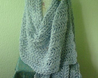 Hand Knitted Lacy Blue Shawl . . . Wrap . . . Stole