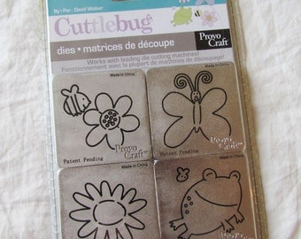 Cuttlebug GARDEN CREATURES - set of four metal dies - DeSTaSH -- NeW -- frog flowers butterfly bee die cuts