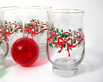 Christmas Beverage Glasses, Six Libbey Holly and Bows, Tulip Shape, 13 oz Weighted Bottom, Vintage 1980s Kitchen Holiday Glassware, Barware