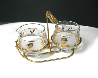 Libbey Gold Leaves Glass Cream & Sugar in Holder Rack, Frosted Band, Vintage 1960s Era, Coffee Tea Table Setting, Mid-century Kitchen