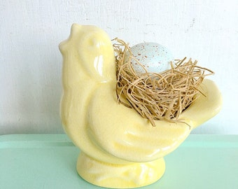The Real McCoy... Antique Nelson Mccoy Yellow Song Bird Singing Birdie Planter Vase Unmarked Hard to Find