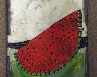 Watermelon 80- folk art