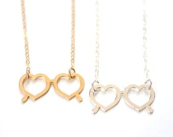 Lolita Heart Sunglasses Necklace - Gold or Silver Plated | 14k Gold Fill or Sterling Silver Chain