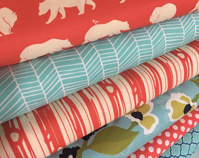 Coral Aqua Quilt fabric, Woodland Baby Quilt Fabric, Floral fabric, Bundle of 6