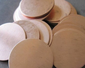 SPRING BLOW-OUT Sale 1 Inch (25mm) Copper Disks - Quantity 5 - 24g