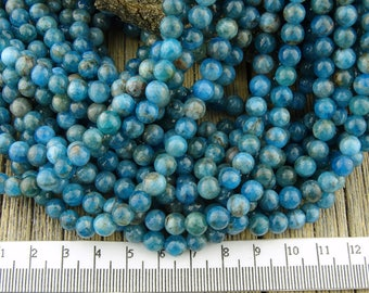 Apatite Beads, 6mm Apatite Round Beads, Teal Blue Green Apatite 6 mm Round, Gemstone, Natural Apatite Beads, 6-6.5mm