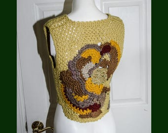 Vintage 1970's Woman's Crochet Sweater Vest XS