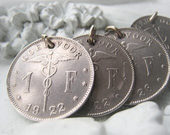 Silver Coin Pendant Belgie Coin Vintage Coin Item No. 8226