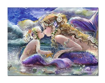 Canvas Print from Original art,MERMAID Mom and Baby on the Beach,Beautiful.