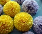 Button Mums Tissue Small Paper Flowers Yellow and Gray Wedding, Bridal Shower, Baby Shower Decor, Engagement Party, Wedding Flowers