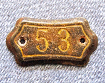 Antique Number 53 Tag Plate Metal Mid 1800's Medieval Rustic Relic New England Church Pew Marker Diy Jewelry Art Repurpose Hardware