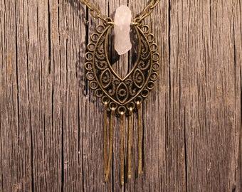 Quartz Paisley Necklace