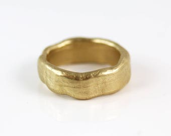 Gold Band Ring - 14k Gold - Gold Ring -Wide Organic Size 8
