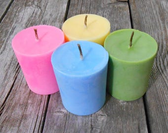 Soy Candles-Organic-Hemp Wick Soy Candles-Votives-Pink-Pastels-Spring Floral
