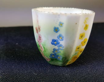 VIntage Royal Crown Derby Hand Painted Flower Cup 1920's  Ceramic Porcelain