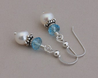 Freshwater pearl and Swarovski Aquamarine sterling SlipLess pierced earrings