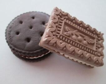 Vintage 1980's Novelty Eraser Chocolate Biscuit Sandwich Cookies Set of 2