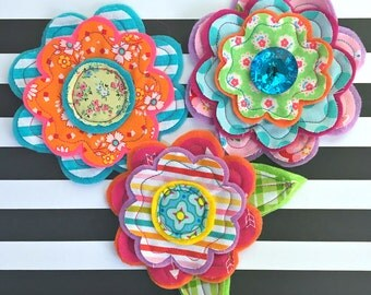 LAST SET- Fresh Picked Flowers (Annika) -- Handmade Fabric and Felt Adornments